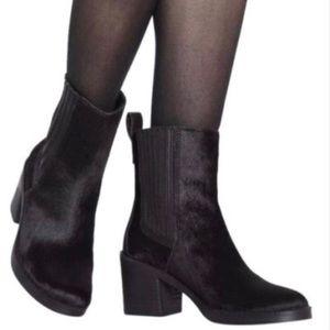 Ugg Black Camden Leather and Cow Hair Heel Boots